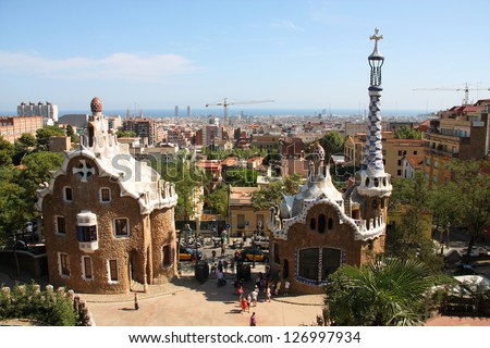 BARCELONA, SPAIN - SEPTEMBER 11: People visit Park Guell on September 11, 2009 in Barcelona, Spain. It was designed by famous Antonio Gaudi. Barcelona is the most visited city in Spain.
