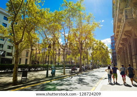 BARCELONA, SPAIN - SEPTEMBER 13: Street of Barcelona on September 13, 2012. It is the capital of Catalonia and the second largest city in Spain with a population of 1,621,537