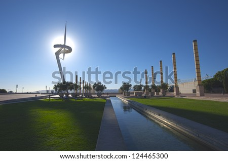 BARCELONA, SPAIN - SEPTEMBER 25: The famous Olympic Park Montjuic on September 25, 2012 in Barcelona, Spain. Olympic park tower designed by Santiago Calatrava.