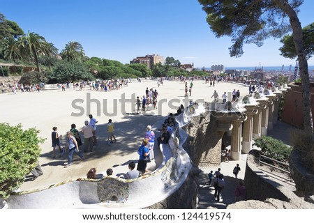BARCELONA, SPAIN - SEPTEMBER 25: The famous Park Guell on September 25, 2012 in Barcelona, Spain. Park Guell is the famous park designed by Antoni Gaudi and built from 1900 to 1914. - stock photo