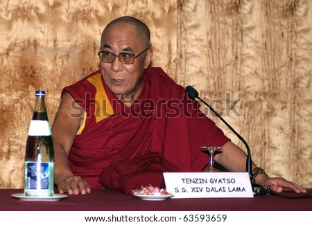 BARCELONA, SPAIN - SEPTEMBER 9: XIV Dalai Lama Tenzin Gyatso speaks in a conference on September 9, 2007 in Barcelona, Catalonia, Spain.