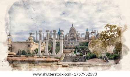 Barcelona, Spain. View at Plaza de Espanya and Palau de Montjuich - Catalonian national art museum MNAC on Montjuic mountain. The Palau Nacional. Watercolor style illustration