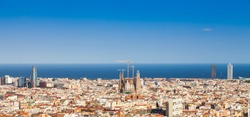 Barcelona - Spain. Wonderful blue sky during a sunny day on the city, with Sagrada Familia view.