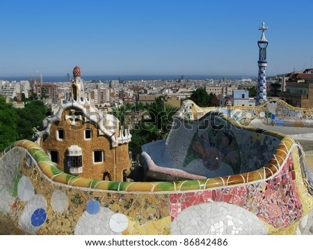 Barcelona: view from Parc Guell, the famous and beautiful park designed by Antoni Gaudi, one of the highlights of the city