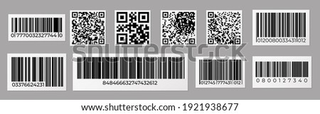 Barcode and QR code. Product price sticker with stripped identification mark for retail, data bar number.  inventory tag set or label products with scanner labeled information identity products Foto stock ©
