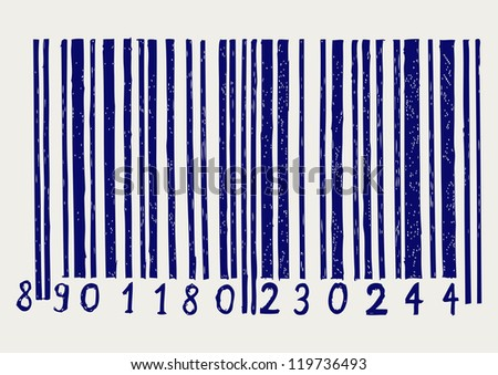 Barcode. Doodle style. Raster version