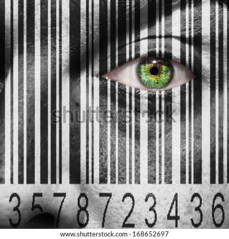 Barcode superimposed on a mans face to suggest the concept of slavery or human trafficking