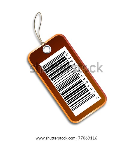 Barcode tag on white background