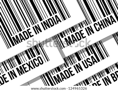 barcode, trade war, business concept illustration design over white