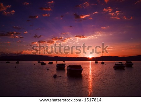 Barcos tethered no lago Tahoe - stock photo