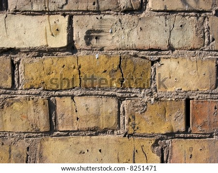 Bare brick wall detailed texture closeup