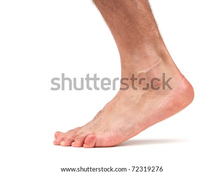 Bare male foot walking
