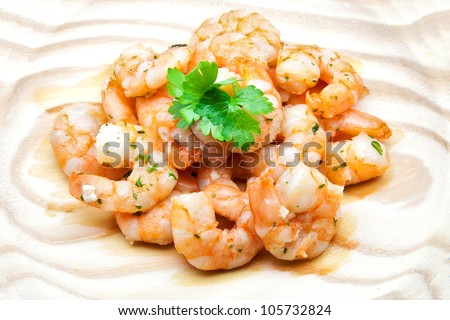 bare prawns cooked with garlic