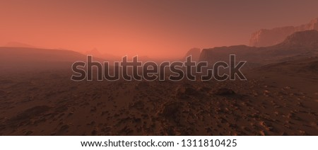 Bare rough rocky mars terrain in fog. #1311810425