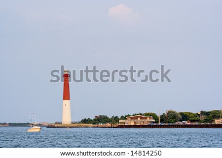 Barengat Lighthouse at Long Beach Island, New Jersey. This lighthouse is nicknamed Old Barney. - stock photo
