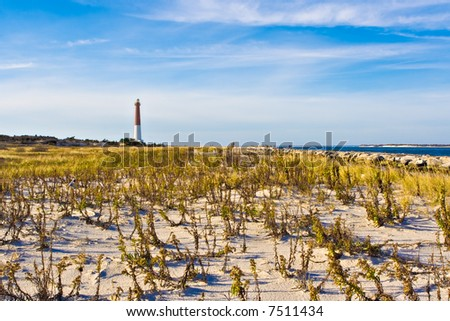 Barengat Lighthouse at Long Beach Island, New Jersey. This lighthouse is nicknamed Old Barney.