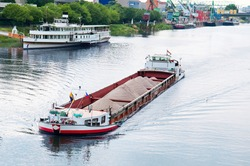 barge and boat on the river