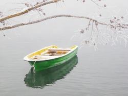 barge boat lake fog mist frost