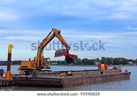 Barge Dredging Lake Erie