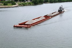 Barge Heading up the Ohio River at Wheeling, West Virginia