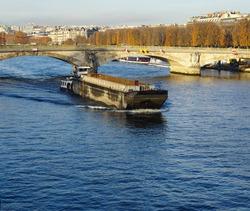 Barge on the river Seine (Paris)