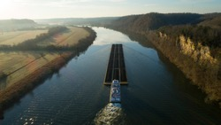 Barge transporting coal down Tennessee river