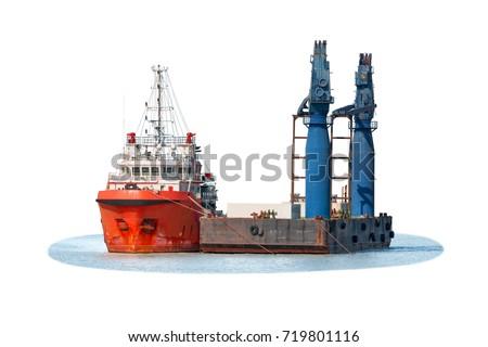 Barge, Tug Boat and floating crane isolated on white background.