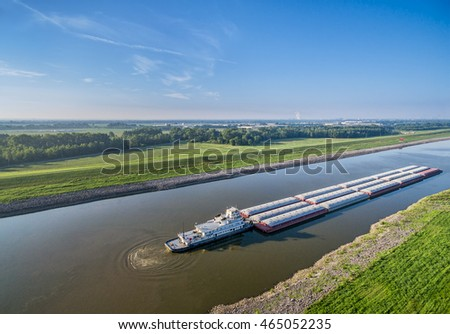 barges on Chain of Rocks Canal of MIssissippi River above St Louis - aerial view