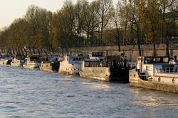 Barges tied up on the Seine River, Paris, Île-de-France, France