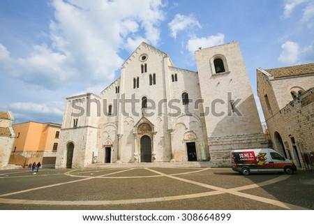 BARI, ITALY - MARCH 16, 2015: Basilica of Saint Nicholas, a church dedicated to Saint Nicholas of Smyrna, a famous pilgrimage site in Bari, Puglia, Southern Italy