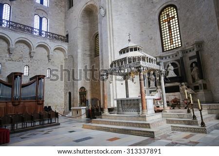 BARI, ITALY - MARCH 16, 2015: Ciborium (created around 1110) of the Basilica of Saint Nicholas, a church dedicated to Saint Nicholas of Smyrna, a famous pilgrimage site in Bari, Puglia, Southern Italy