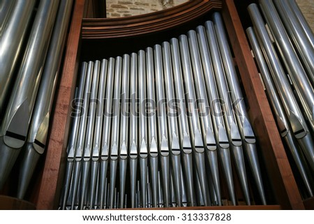 BARI, ITALY - MARCH 16, 2015: Organ in the Basilica of Saint Nicholas, a church dedicated to Saint Nicholas of Smyrna, a famous pilgrimage site in Bari, Puglia, Southern Italy