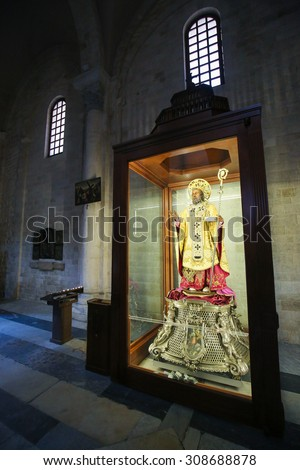BARI, ITALY - MARCH 16, 2015: Statue of Saint Nicholas in the Basilica of Saint Nicholas, a famous pilgrimage site in Bari, Puglia, Southern Italy