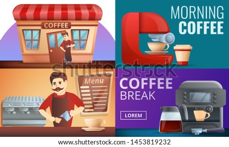 Barista coffee banner set. Cartoon illustration of barista coffee banner set for web design