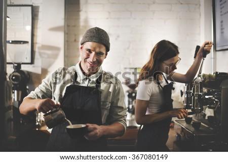Barista Coffee Shop Waiter Waitress Couple Apron Concept