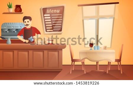 Barista restaurant concept banner. Cartoon illustration of barista restaurant concept banner for web design
