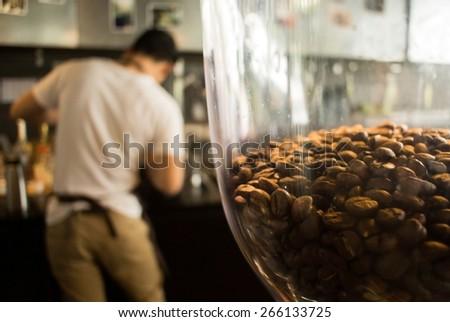 Barista working, Close-up Coffee machine