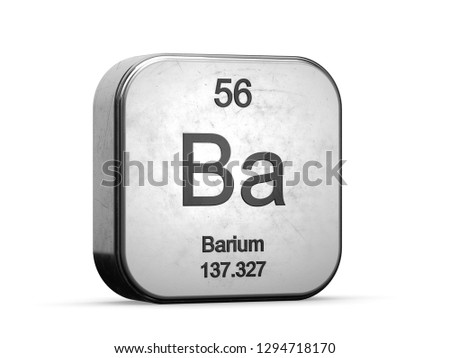 Barium element from the periodic table series. Metallic icon set 3D rendered on white background