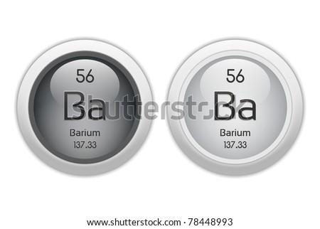 Barium - Two Web Buttons - Chemical Element With Atomic ... Barium Symbol