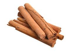 Bark from Cinnamomum verum or true cinnamon or Ceylon cinnamon. Isolated on white background