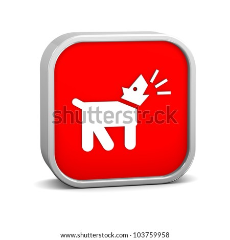 Barking dog sign on a white background. Part of a series.