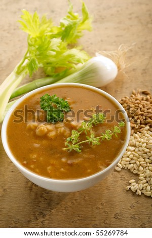barley soup on bowl