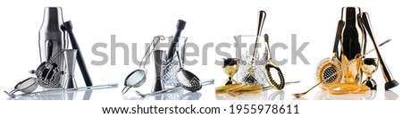 Barman equipment. Shaker, strainer on white, bartender set on white background. Set of bar tools for making a cocktails isolated Stock photo ©
