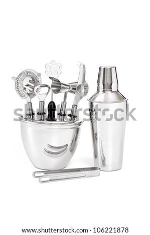 barman's set with shaker, equipment on white