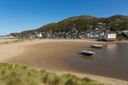 Barmouth beach and sand dunes north west Wales UK