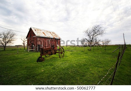barn and old tractor