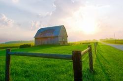 Barn at sunrise-Howard County Indiana