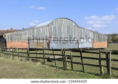 barn door on farm buildings made of wood