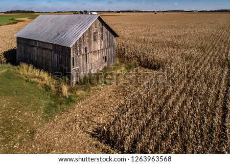 Barn in Field - an old barn next to the corn field during harvest in northwest Ohio.  Aerial photo taken with a drone.