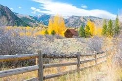 Barn-Ranch Barn outside Aspen Colorado-Mountians in background